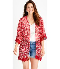 maurices womens ditsy floral crochet trim open front kimono red