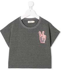 andorine peace hand cropped t-shirt - grey