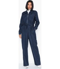 selected femme slfdana dark blue denim jumpsuit w jumpsuits