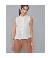 amaro feminino regata camisa maxi laço, off-white