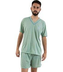 pijama linha noite curto verde claro - kanui