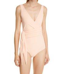 women's lisa marie fernandez dree louise wrap front one-piece swimsuit, size 2 - coral