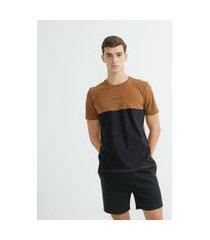 camiseta manga curta em algodão bicolor | request | marrom | m