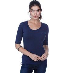 blusa javali malha cotton azul marinho