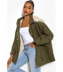 parka jas met capuchon en faux fur voering, khaki