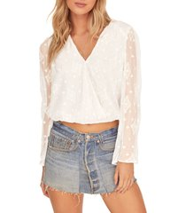 astr the label saskia surplice top, size x-small in off white at nordstrom