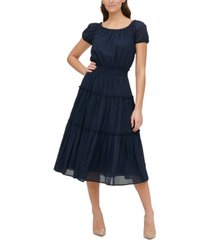tommy hilfiger cotton tiered midi dress