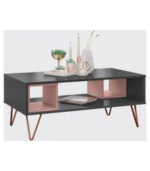 mesa centro retro metal dallas grafito ac/rose ac olivar preta/rosa