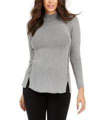 style & co petite mock-neck lace-up sweater, created for macy's