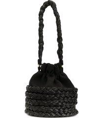 0711 round woven tote bag - black
