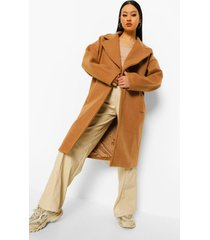 nepwollen jas met grote kraag, camel