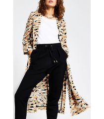 river island womens cream printed long turn up cuff duster jacket