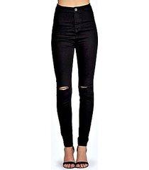 lara skinny high rise tube slashed jeans