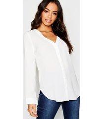blouse met v-hals, wit