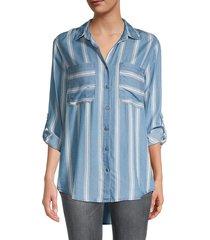 pure navy women's striped long-sleeve shirt - blue white - size l