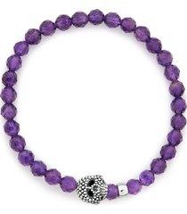 lagos signature caviar skull stone stretch bracelet, size 7 in amethyst at nordstrom