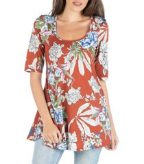 24seven comfort apparel swing floral tunic top with fitted elbow length sleeve
