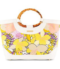 floral-print canvas & bamboo-handle tote