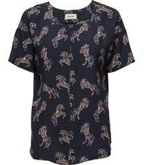 camille print top blouses short-sleeved blå modström