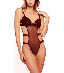 women's mesh panel bodysuit lingerie teddy
