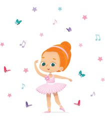 adesivo de parede bailarina ruiva para quarto de menina - rosa - menina - dafiti