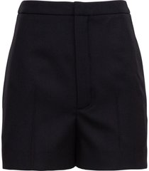 saint laurent pleated wool gabardine shorts