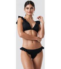 trendyol ruffle detailed bikini bottom - black