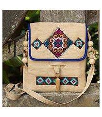 hemp shoulder bag, 'miracle earth' (thailand)