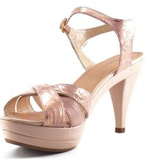 sandalia tacón medio cuero oro rosa versilia marbella