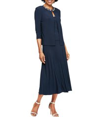 alex evenings beaded jersey dress & jacket, size 10 in navy at nordstrom
