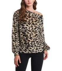 1.state one-shoulder leopard-print top