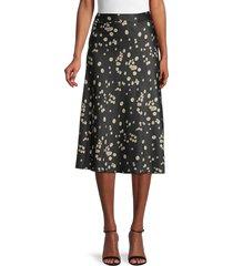 vero moda women's christas satin skirt - black - size l