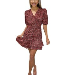ax paris ditsy floral ruched frill dress