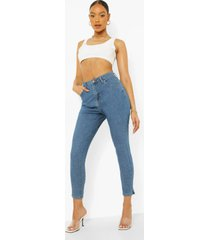 basic stretch skinny jeans met split, mid blue