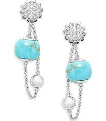 18k white gold turquoise & diamond chain drop earrings