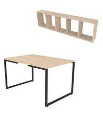 conjunto de mesa de jantar retangular e nicho vali geneve e preto