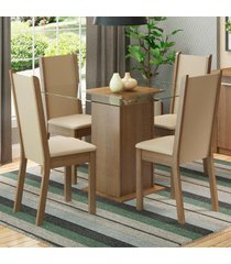 conjunto sala de jantar madesa giulia mesa tampo de vidro com 4 cadeiras marrom - marrom - dafiti