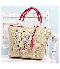 jute blend tote handbag, 'morning outing' (india)
