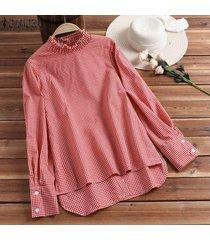zanzea más el tamaño de las mujeres a cuadros informal camisa a cuadros de gran tamaño tops dobladillo irregular de la blusa plus -rojo