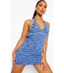 gebreide mini jurk met halter neck en v-hals, blue