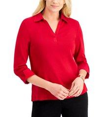 karen scott 3/4-sleeve johnny collar top, created for macy's