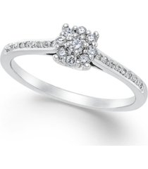 diamond cluster promise ring (1/4 ct. t.w.) in 10k white gold