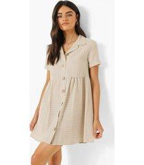 gestreepte gesmokte blouse jurk met knopen, stone
