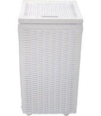 cesto roupa suja roupeiro fibra sintetica junco branco 30x30x57 - branco - feminino - dafiti