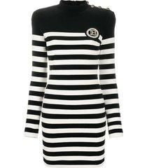 striped velvet-effect dress