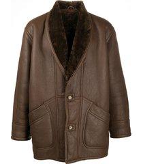 a.n.g.e.l.o. vintage cult 1980s textured shawl lapel coat - brown