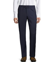 virgin-wool blend check flat-front pants