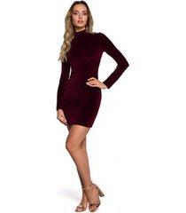 korte jurk moe m558 fluwelen turtleneck mini dress - kastanjebruin