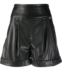 twin-set pleat-front high-rise shorts - black