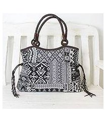 leather accented cotton blend shoulder bag, 'chiang mai patchwork in black' (thailand)